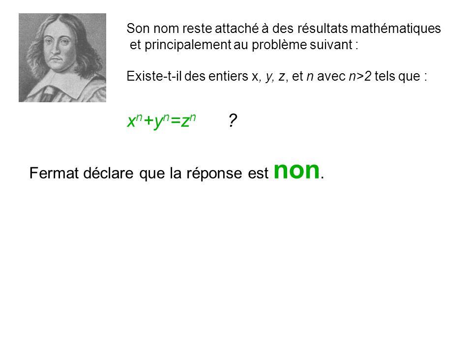 Son nom reste attaché à des résultats mathématiques et principalement au problème suivant : Existe-t-il des entiers x, y, z, et n avec n>2 tels que : x n +y n =z n .