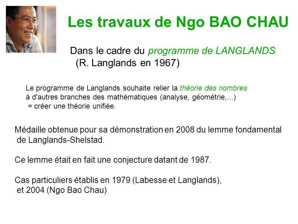 Les travaux de Ngo BAO CHAU Médaille obtenue pour sa démonstration en 2008 du lemme fondamental de Langlands-Shelstad.