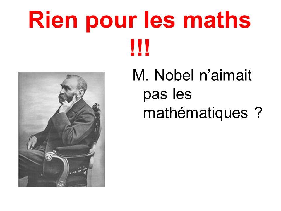 Rien pour les maths !!! M. Nobel naimait pas les mathématiques