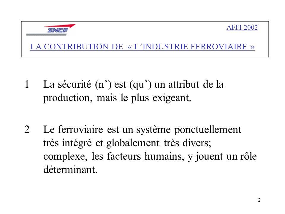 2 1La sécurité (n) est (qu) un attribut de la production, mais le plus exigeant.