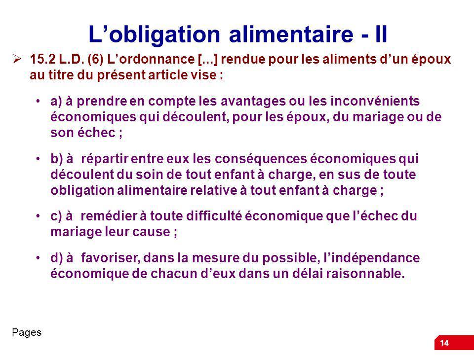 14 Lobligation alimentaire - II 15.2 L.D.