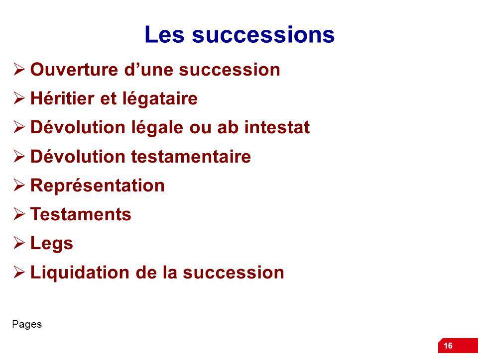 16 Les successions Ouverture dune succession Héritier et légataire Dévolution légale ou ab intestat Dévolution testamentaire Représentation Testaments