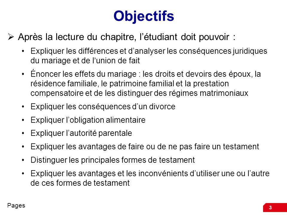 3 Objectifs Après la lecture du chapitre, létudiant doit pouvoir : Expliquer les différences et danalyser les conséquences juridiques du mariage et de