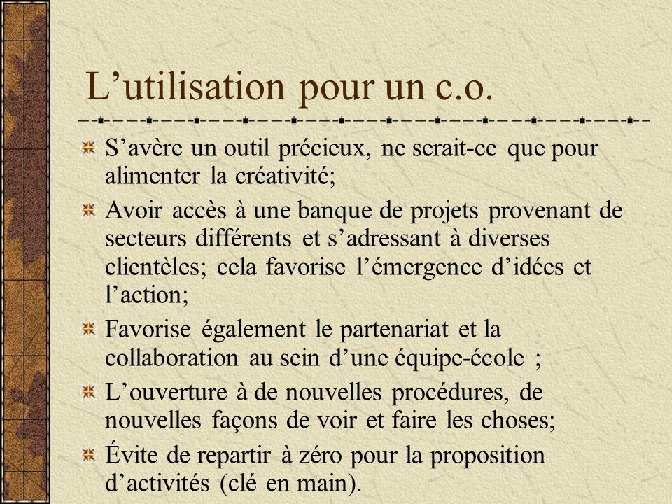 Lutilisation pour un c.o.