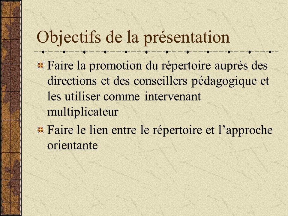Objectifs de la présentation Faire la promotion du répertoire auprès des directions et des conseillers pédagogique et les utiliser comme intervenant multiplicateur Faire le lien entre le répertoire et lapproche orientante