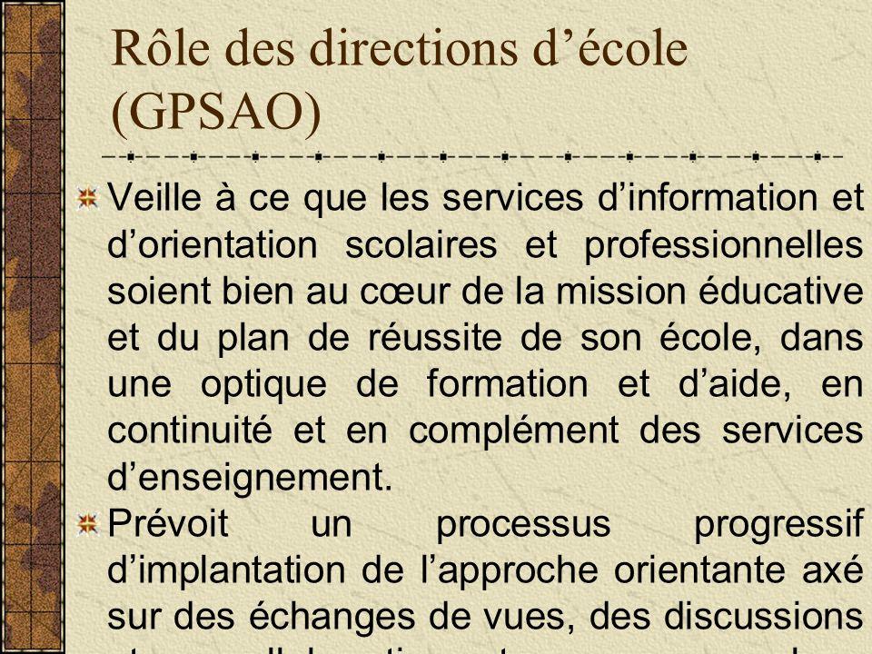 Rôle des directions décole (GPSAO) Veille à ce que les services dinformation et dorientation scolaires et professionnelles soient bien au cœur de la mission éducative et du plan de réussite de son école, dans une optique de formation et daide, en continuité et en complément des services denseignement.