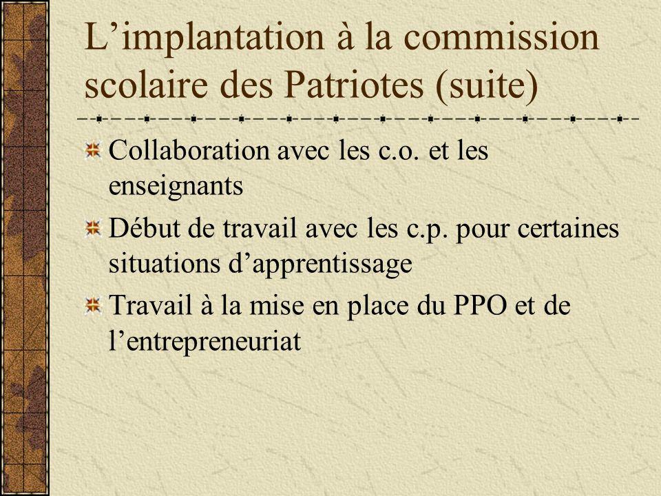 Limplantation à la commission scolaire des Patriotes (suite) Collaboration avec les c.o.