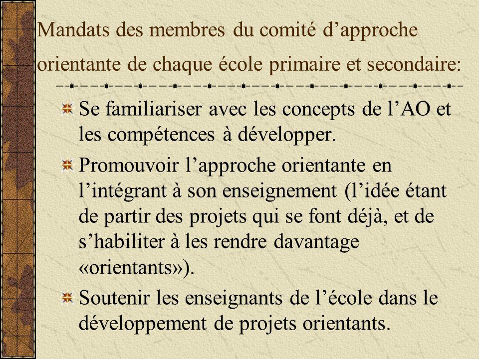 Mandats des membres du comité dapproche orientante de chaque école primaire et secondaire: Se familiariser avec les concepts de lAO et les compétences à développer.