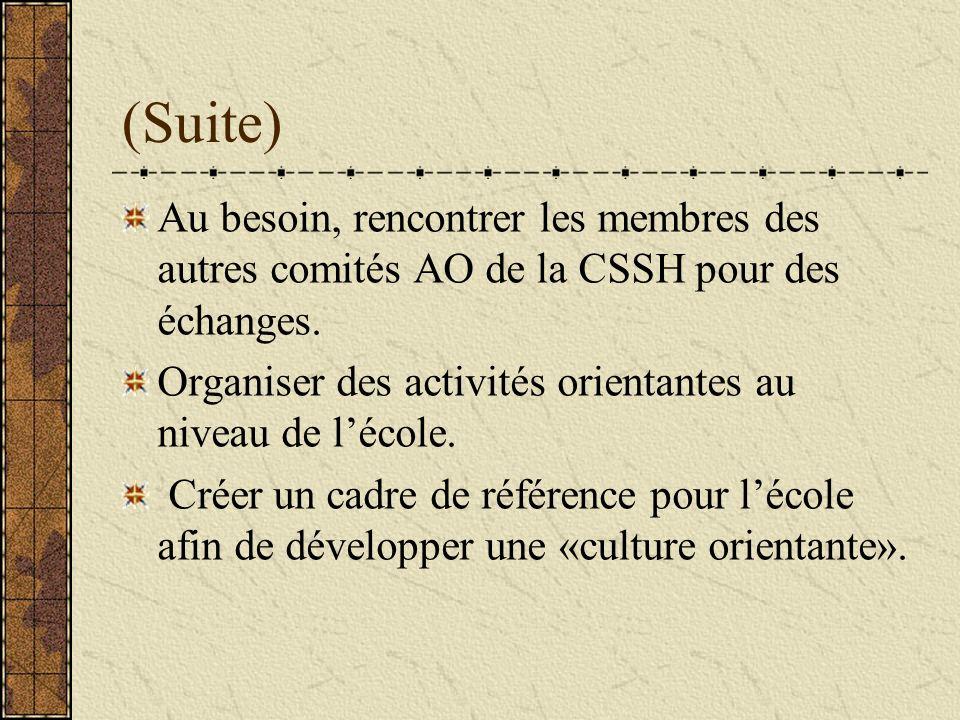 (Suite) Au besoin, rencontrer les membres des autres comités AO de la CSSH pour des échanges.