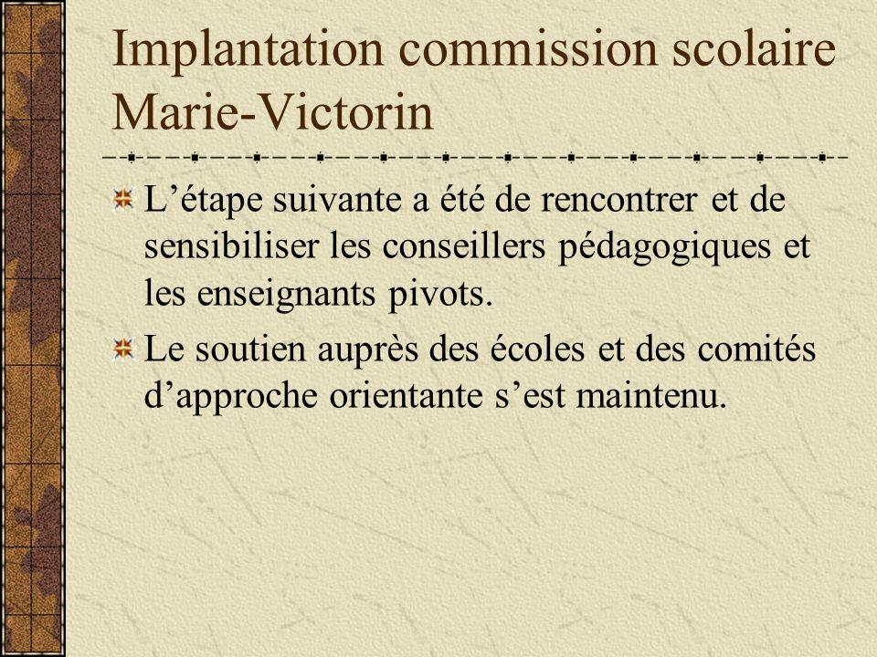 Implantation commission scolaire Marie-Victorin Létape suivante a été de rencontrer et de sensibiliser les conseillers pédagogiques et les enseignants pivots.