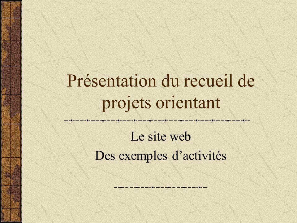 Présentation du recueil de projets orientant Le site web Des exemples dactivités