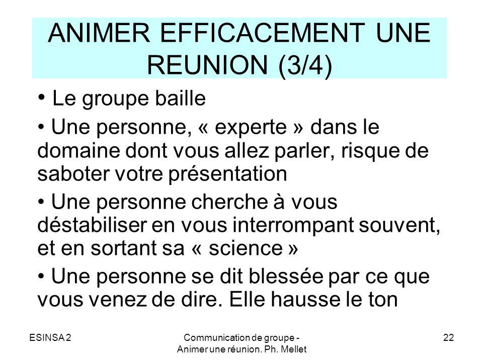 ESINSA 2Communication de groupe - Animer une réunion. Ph. Mellet 22 ANIMER EFFICACEMENT UNE REUNION (3/4) Le groupe baille Une personne, « experte » d