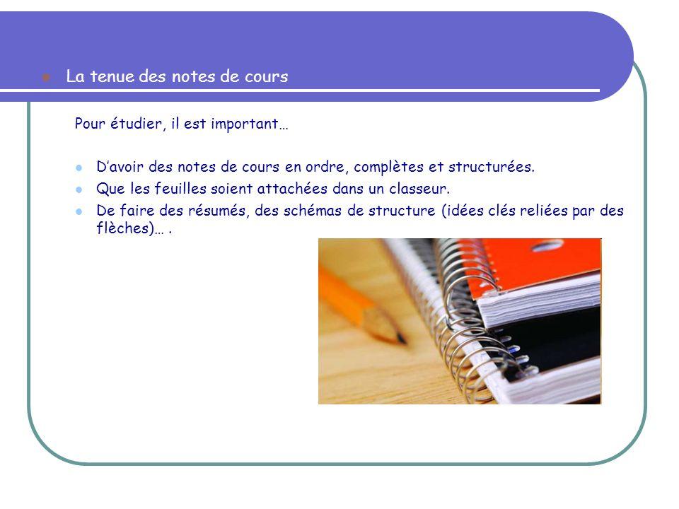 La tenue des notes de cours Pour étudier, il est important… Davoir des notes de cours en ordre, complètes et structurées. Que les feuilles soient atta