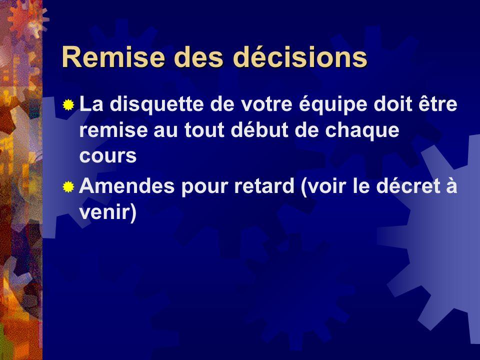 Remise des décisions La disquette de votre équipe doit être remise au tout début de chaque cours Amendes pour retard (voir le décret à venir)