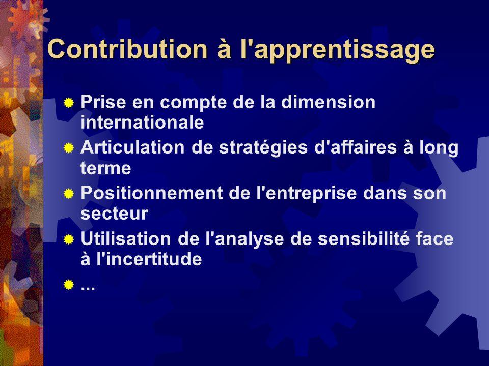 Contribution à l'apprentissage Prise en compte de la dimension internationale Articulation de stratégies d'affaires à long terme Positionnement de l'e