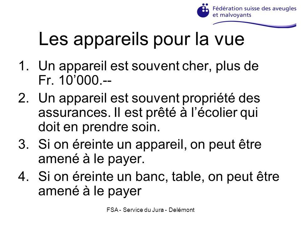 FSA - Service du Jura - Delémont Les appareils pour la vue 1.Un appareil est souvent cher, plus de Fr. 10000.-- 2.Un appareil est souvent propriété de