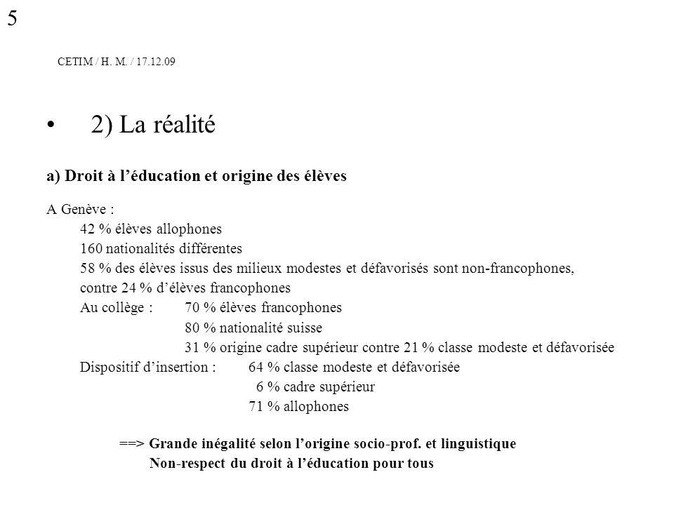 CETIM / H. M. / 17.12.09 2) La réalité a) Droit à léducation et origine des élèves A Genève : 42 % élèves allophones 160 nationalités différentes 58 %