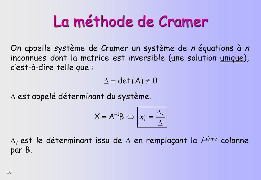 10 La méthode de Cramer On appelle système de Cramer un système de n équations à n inconnues dont la matrice est inversible (une solution unique), ces