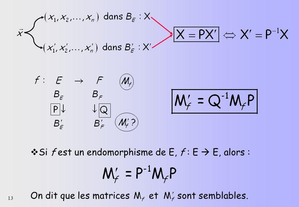 13 Si f est un endomorphisme de E, f : E E, alors : On dit que les matrices et sont semblables.