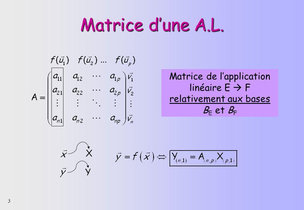 3 Matrice dune A.L. Matrice de lapplication linéaire E F relativement aux bases B E et B F