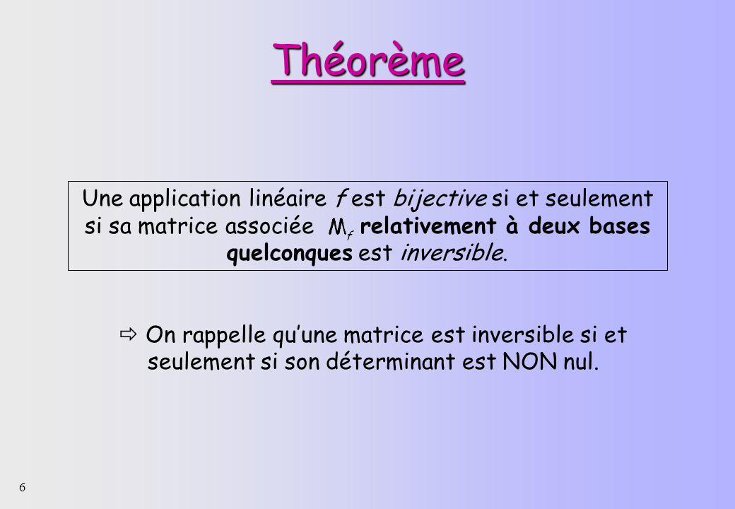 6 Théorème Une application linéaire f est bijective si et seulement si sa matrice associée relativement à deux bases quelconques est inversible. On ra