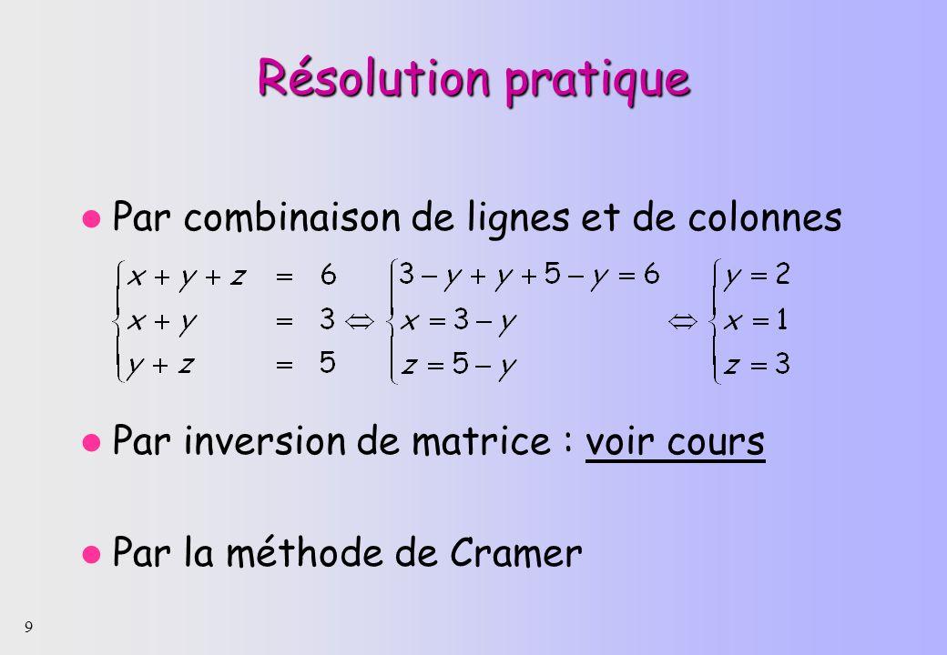 9 Résolution pratique Par combinaison de lignes et de colonnes Par inversion de matrice : voir cours Par la méthode de Cramer
