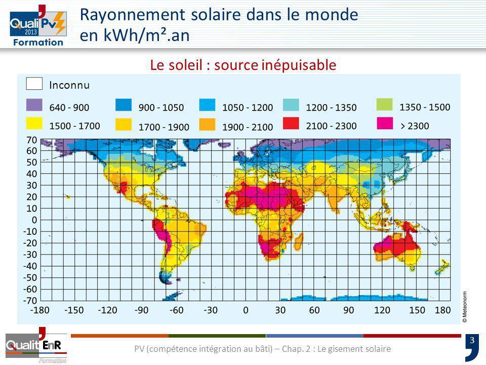 3 PV (compétence intégration au bâti) – Chap. 2 : Le gisement solaire Rayonnement solaire dans le monde en kWh/m².an Inconnu Le soleil : source inépui