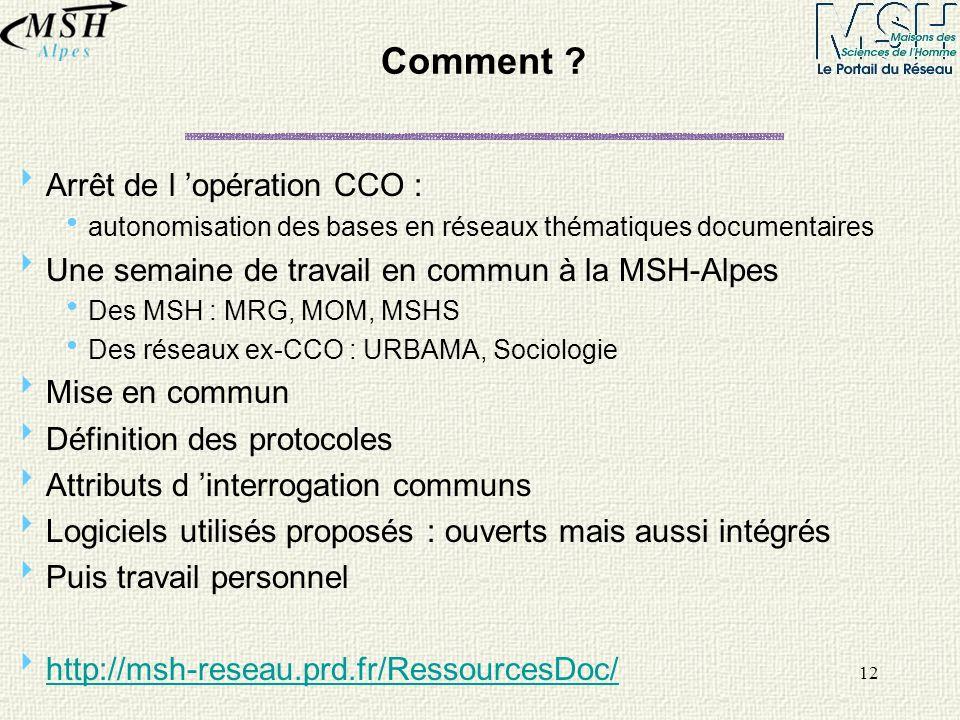 12 Comment ? Arrêt de l opération CCO : autonomisation des bases en réseaux thématiques documentaires Une semaine de travail en commun à la MSH-Alpes