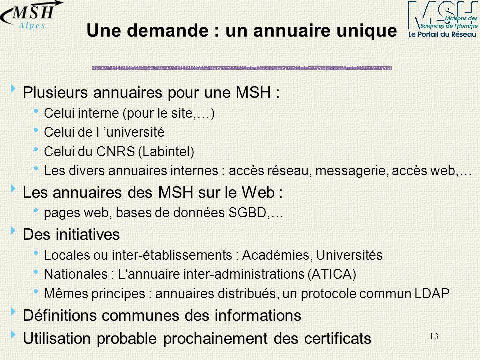 13 Une demande : un annuaire unique Plusieurs annuaires pour une MSH : Celui interne (pour le site,…) Celui de l université Celui du CNRS (Labintel) L