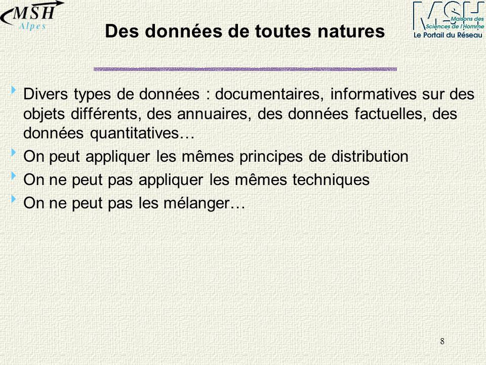 8 Des données de toutes natures Divers types de données : documentaires, informatives sur des objets différents, des annuaires, des données factuelles