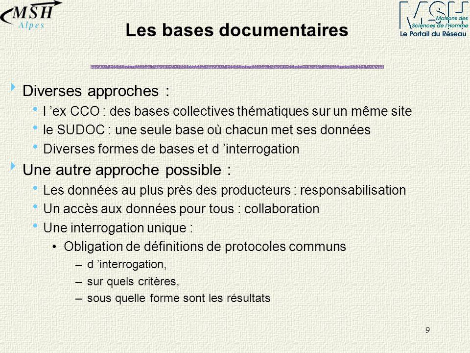 9 Les bases documentaires Diverses approches : l ex CCO : des bases collectives thématiques sur un même site le SUDOC : une seule base où chacun met s
