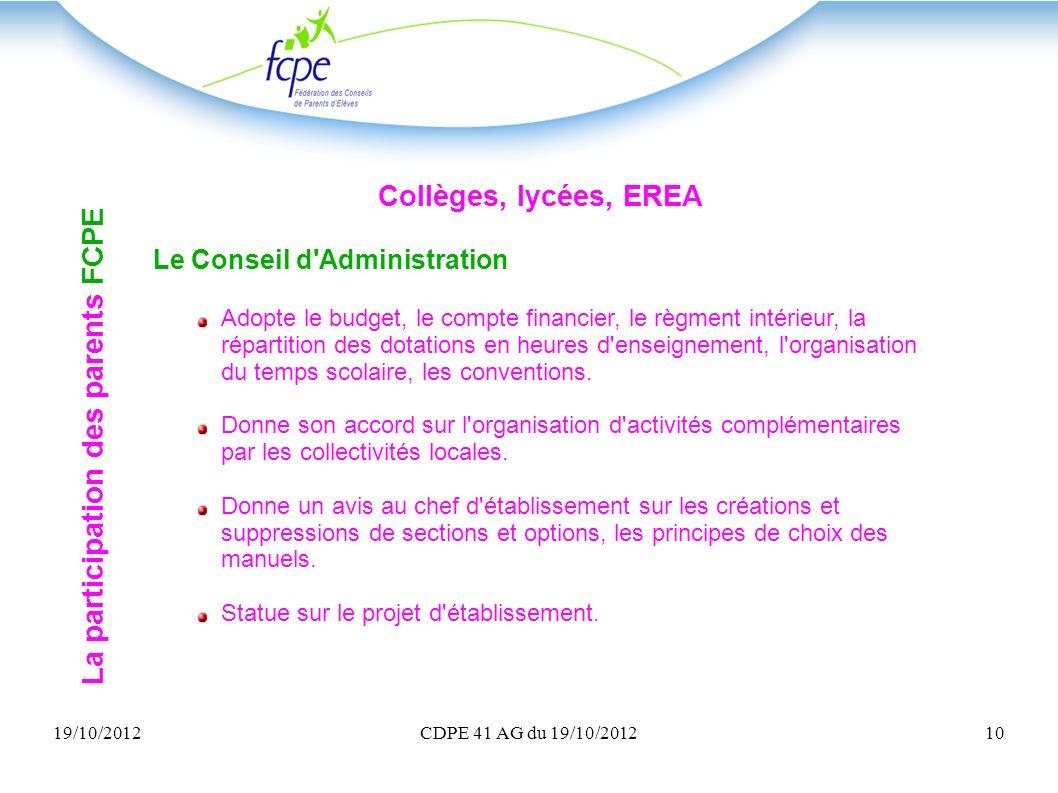 19/10/2012CDPE 41 AG du 19/10/201210 Collèges, lycées, EREA Le Conseil d'Administration Adopte le budget, le compte financier, le règment intérieur, l
