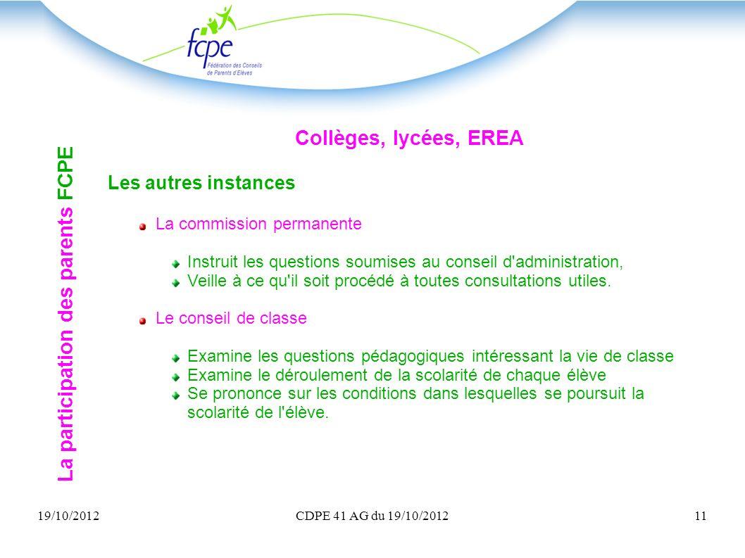 19/10/2012CDPE 41 AG du 19/10/201211 Collèges, lycées, EREA Les autres instances La commission permanente Instruit les questions soumises au conseil d
