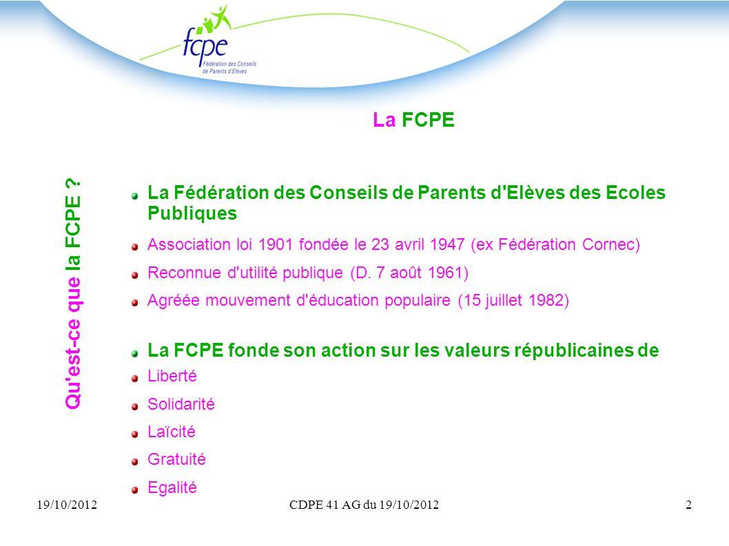 19/10/2012CDPE 41 AG du 19/10/20122 Qu'est-ce que la FCPE ? La FCPE La Fédération des Conseils de Parents d'Elèves des Ecoles Publiques Association lo