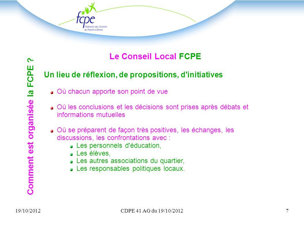 19/10/2012CDPE 41 AG du 19/10/20127 Le Conseil Local FCPE Un lieu de réflexion, de propositions, d'initiatives Où chacun apporte son point de vue Où l