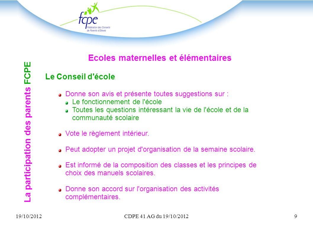 19/10/2012CDPE 41 AG du 19/10/20129 La participation des parents FCPE Ecoles maternelles et élémentaires Le Conseil d'école Donne son avis et présente