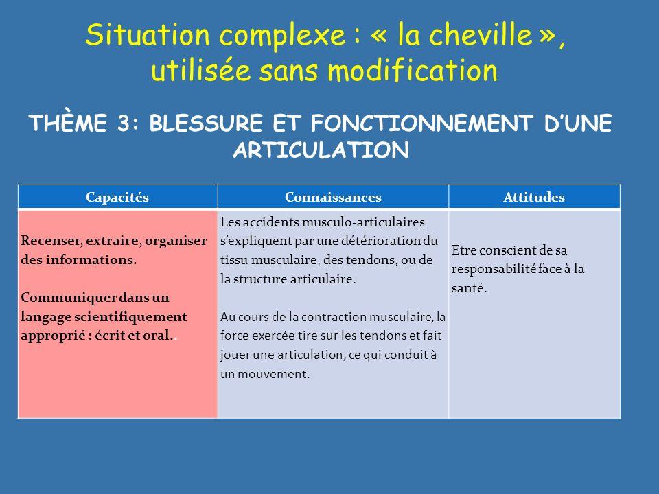 Situation complexe : « la cheville », utilisée sans modification CapacitésConnaissancesAttitudes Recenser, extraire, organiser des informations. Commu