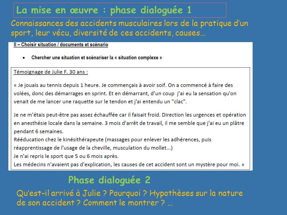 La mise en œuvre : phase dialoguée 1 Phase dialoguée 2 Connaissances des accidents musculaires lors de la pratique dun sport, leur vécu, diversité de