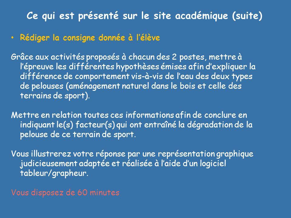 Ce qui est présenté sur le site académique (suite) Rédiger la consigne donnée à lélève Grâce aux activités proposés à chacun des 2 postes, mettre à lé