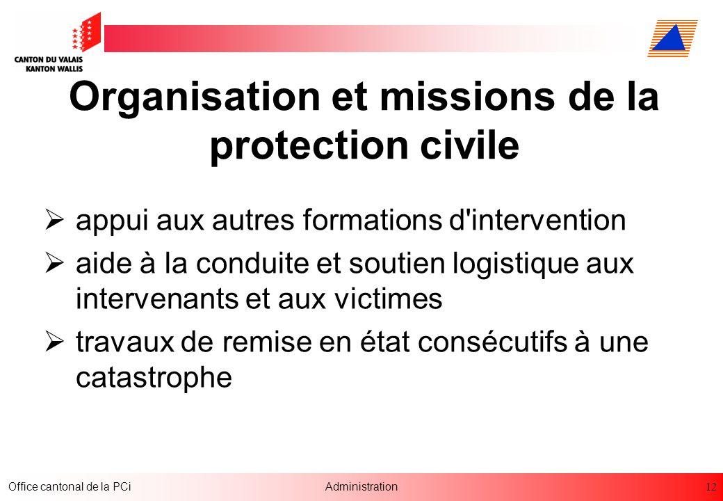 12 Office cantonal de la PCiAdministration Organisation et missions de la protection civile appui aux autres formations d'intervention aide à la condu