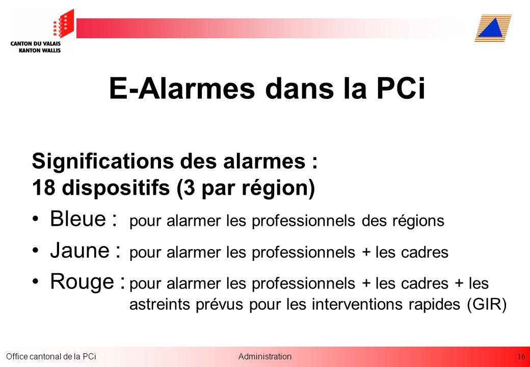 16 Office cantonal de la PCiAdministration E-Alarmes dans la PCi Significations des alarmes : 18 dispositifs (3 par région) Bleue : pour alarmer les p