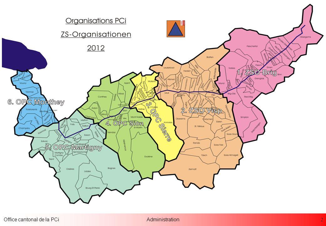 23 Office cantonal de la PCiAdministration Pompages de sous-sols Mise en place de sacs de sable Vidages de caves Points de renforts des sapeurs-pompiers