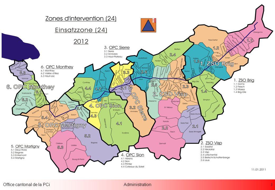 24 Office cantonal de la PCiAdministration Professionnels par région PCi Planning annuel Toujours une troupe en service GIR sur alarme