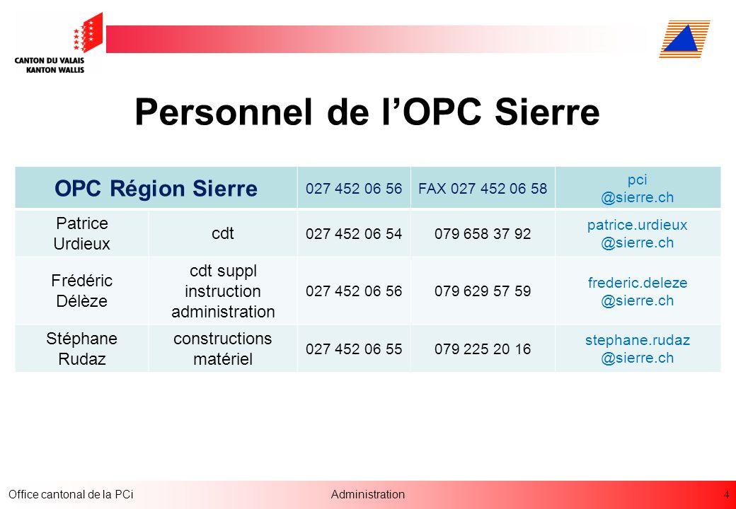 4 Office cantonal de la PCiAdministration Personnel de lOPC Sierre OPC Région Sierre 027 452 06 56FAX 027 452 06 58 pci @sierre.ch Patrice Urdieux cdt