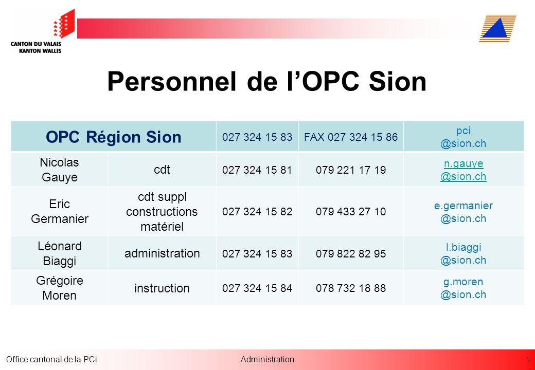5 Office cantonal de la PCiAdministration Personnel de lOPC Sion OPC Région Sion 027 324 15 83FAX 027 324 15 86 pci @sion.ch Nicolas Gauye cdt 027 324
