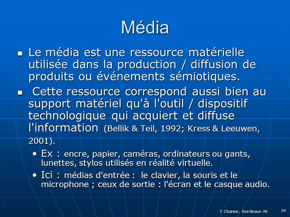 T Chanier, Bordeaux 06 10 Média Le média est une ressource matérielle utilisée dans la production / diffusion de produits ou événements sémiotiques.
