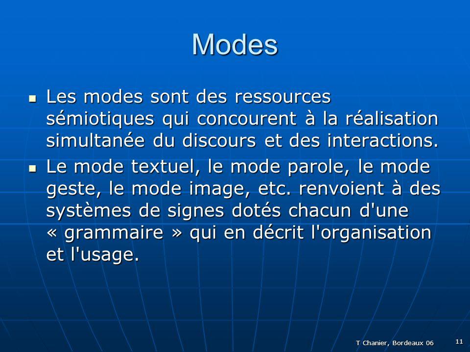 T Chanier, Bordeaux 06 11 Modes Les modes sont des ressources sémiotiques qui concourent à la réalisation simultanée du discours et des interactions.
