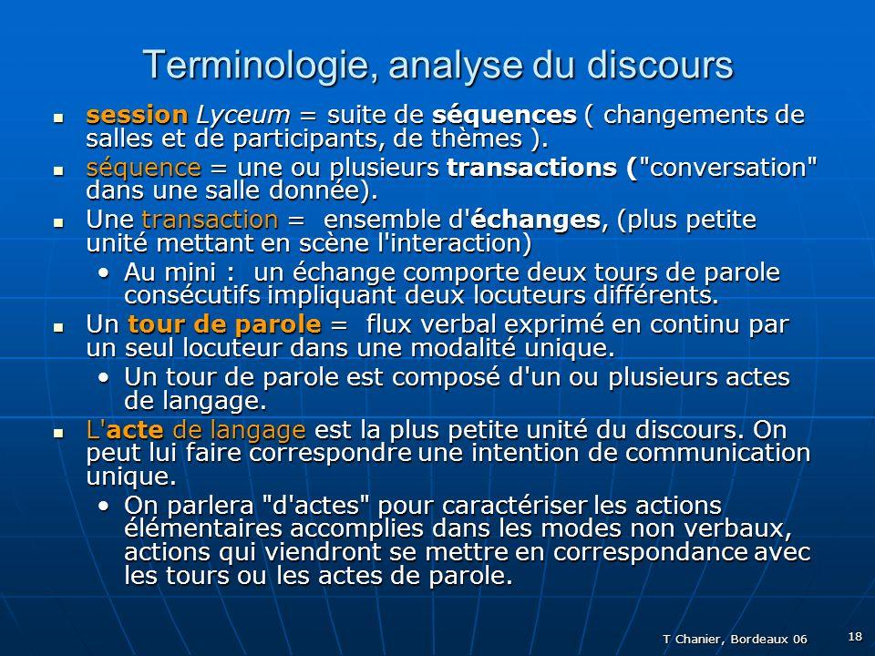 T Chanier, Bordeaux 06 18 Terminologie, analyse du discours session Lyceum = suite de séquences ( changements de salles et de participants, de thèmes ).