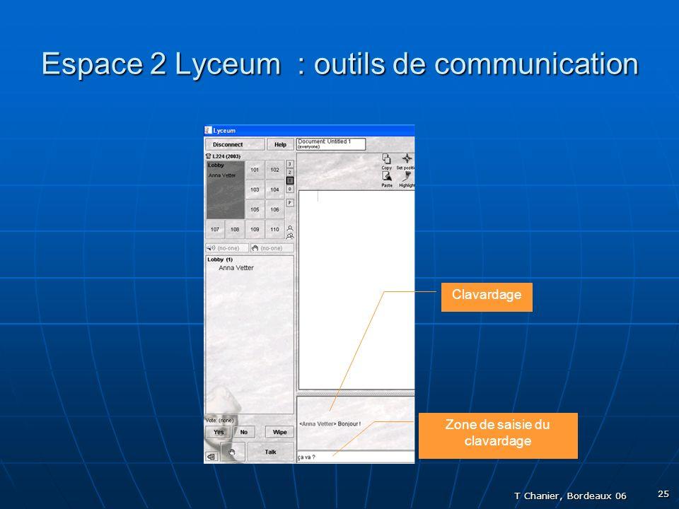 T Chanier, Bordeaux 06 25 Espace 2 Lyceum : outils de communication Clavardage Zone de saisie du clavardage