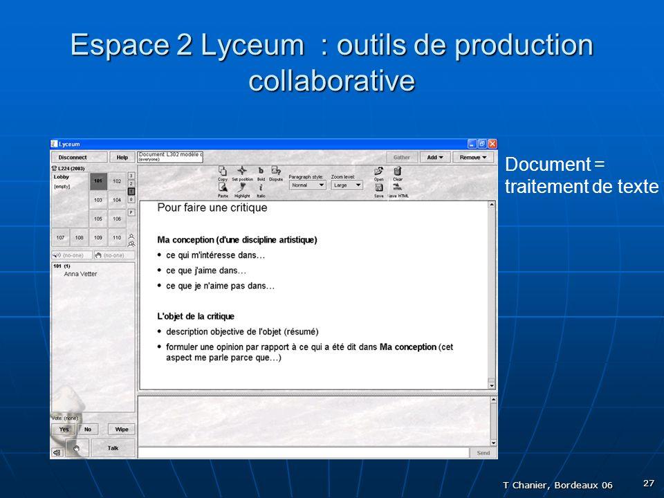 T Chanier, Bordeaux 06 27 Espace 2 Lyceum : outils de production collaborative Document = traitement de texte - ouvrir - effacer - sauvegarder